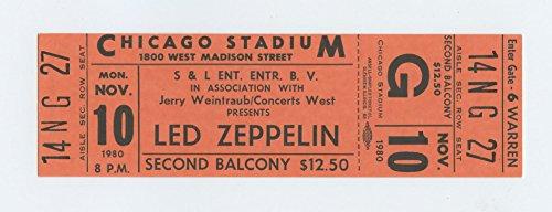 Led Zeppelin 1980 Nov 10 Chicago Stadium unused ticket (Chicago Concert Tickets compare prices)