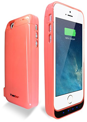 PowerBear® Stamina Series iPhone 5, iPhone 5S, iPhone 5C Extended Rechargeable Battery Power Case with Built in PowerBank - Pink  comes with Free Screen Protector