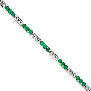 Sterling Silver Emerald and Diamond Bracelet, 7 inches, Quality Bracelets For Women, Fine Jewelry