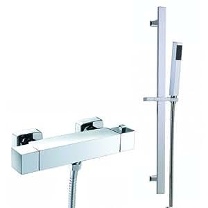 iBath Kit de douche mitigeur barre thermostatique avec douchette Design carré