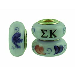 Sigma Kappa Sorority Hand Painted Fenton Glass Bead