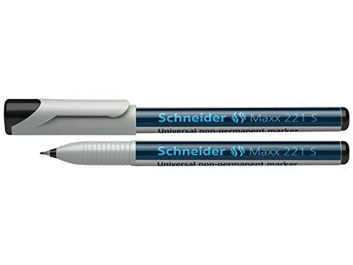 Schneider 221 Feutre pour rétroprojecteur Effaçable/S/0,4 mm Noir Lot de 10