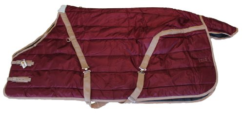"420D Heavy Weight Horse Turnout Blanket Burgundy, 70"" front-981208"