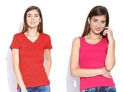 Happy Hippie Women's Combo T-shirt Red-DarkPink
