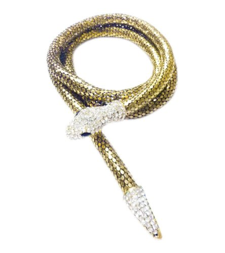 TdZ Metallic Fashion Wrap Belt - Magnetic Rhinestone Snake (Bronze) (Gold Coil Belt compare prices)