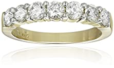 buy 14K Yellow Gold 7-Stone Diamond Ring (1 Cttw, H-I Color, I1-I2 Clarity), Size 8