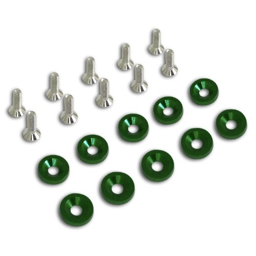 Spec-D Tuning FBW-GRN 10PC Green Aluminum Fender Bumper Engine Dress Up Washer Bolts Screw Kit (2001 Dodge Neon Bumper compare prices)