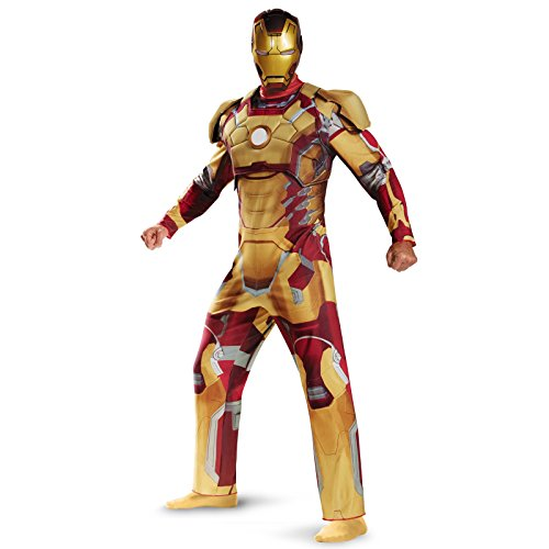 Iron Man Mark 42 - Iron Man 3 Movie Deluxe Adult Costume with Helmet Size:XL