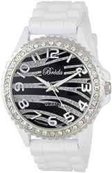 """Breda Women's 2302-whitezebra """"Ravynn"""" Rhinestone Bezel Silicone Band Watch"""
