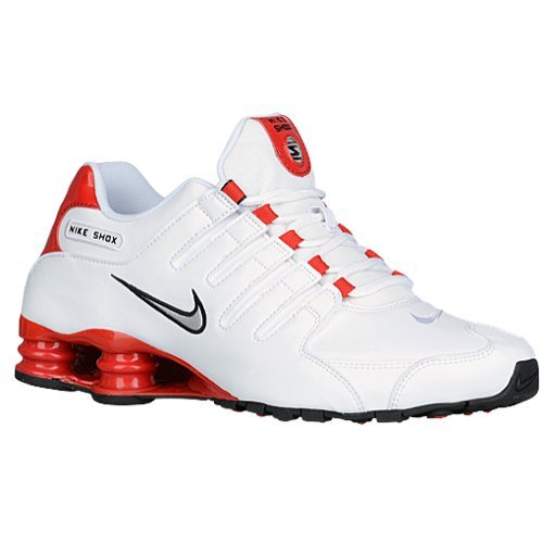 Nike Men's Shox NZ White/University Red/Black/Metallic Silver Leather Running Shoes 6 M US (Classic Nike Shox compare prices)