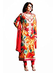 CHARMING Red Lawn Cotton Designer Salwar Kameez, Semi Stitched, Free Size