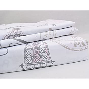 Paris French Vintage Duvet Quilt Cover by Designer Nicole Miller, Bedding Set Grey Tan Dusty Rose Pink Eiffel Script Parisian Theme on White (Queen)
