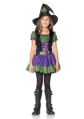 Leg Avenue Costumes 2Pc.Hocus Pocus Belted Peasant Dress and Witch Hat, Purple/Neon Green, Large (Hocus Pocus Witch Childrens Costume)