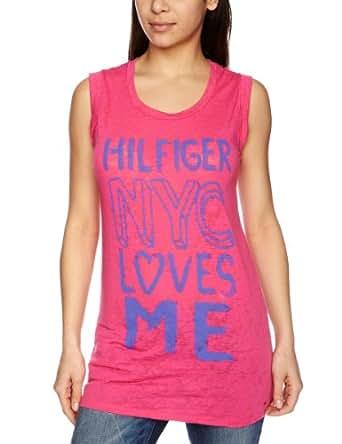 Tommy Hilfiger Perky Cn S/S Slogan Women's T-Shirt Fuchsia Purple X-Large