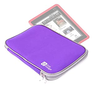 Purple Durable Neoprene Case With Dual Silver Zip For PocketBook 360° By DURAGADGET from Electronic-Readers.com