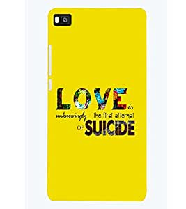 printtech Love Suicide Back Case Cover for Huawei P8