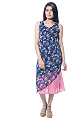 iamme sleeveless floral blue mid-calf length sheath dress with scoop neck