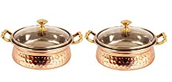 IndianArtVilla 3.5 X 6.0 X 2.5 Handmade High Quality Stainless Steel Copper Casserole Dish Serving Indian Food Daal Curry Set of 2 Handi Bowl With Glass Tumbler Lid Capacity 500 ML for use RestaurantGift Item