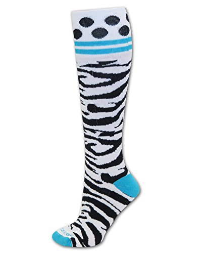 Socks Zebra Turquoise Band M/L front-643023
