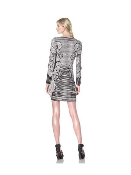 Hale Bob Women's Printed Long Sleeve Ruched Dress
