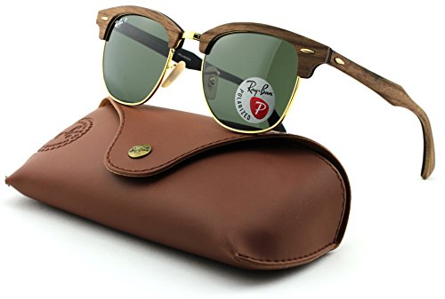 Ray-Ban RB3016M Clubmaster Wooden Square Unisex Sunglasses (Walnut Rubber Black Frame, Polarized Green Lens 118158,51mm)