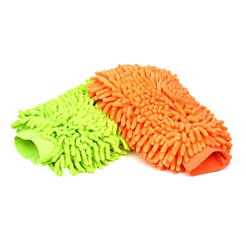 Lyxuan Car Wash Mitt Microfiber Cleaning Cloth Chenille Wash and Wax Glove, Green and Orange (Car Waterproof Wax compare prices)