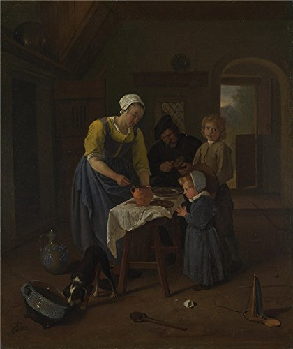 jan-steen-a-peasant-family-at-meal-time-grace-before-meat-oil-painting-18-x-21-inch-46-x-54-cm-print