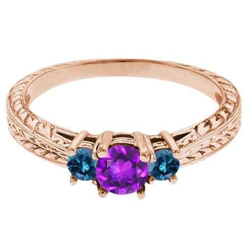 0.60 Ct Round Purple Amethyst Blue Diamond 14K Rose Gold 3-Stone Ring