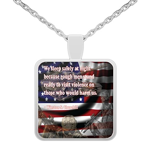 Military Jewelry \ We Sleep Safely At Night... \ 22 Inch Necklace and 1 Inch Square Pendant by Vitazi Designs - Winston Churchill Quote (silver-plated-zinc-alloy) (Sleep Satisfaction Llc Sign compare prices)
