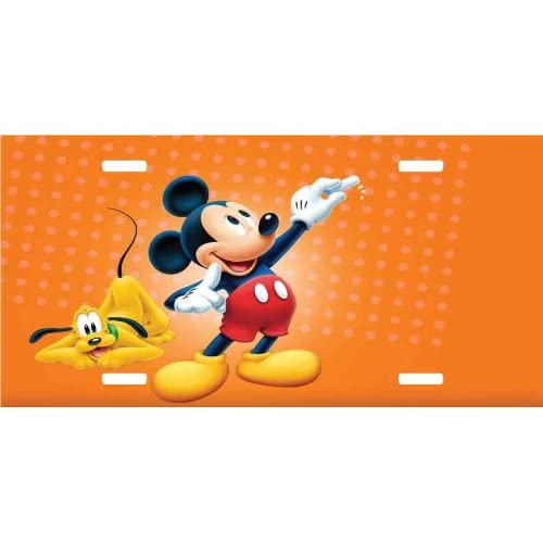 Amazon.com: Mickey Mouse & Pluto License Plate Orange