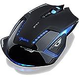 Patuoxun ®Souris Gamer Gaming Sans fil E-3lue Mazer 2500 dpi LED bleue de jeu sans-fil optique /E-3LUE 2.4GHz E-sport Blue LED Wireless Optical Gaming Game Mouse 2500 DPI à Molette de défilement ultra-précis, ultra-silencieux et à faible friction