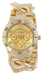 Akribos XXIV Women's AK642YG Ultimate Multi-Function Gold-Tone Diver Style Twist Chain Bracelet Watch