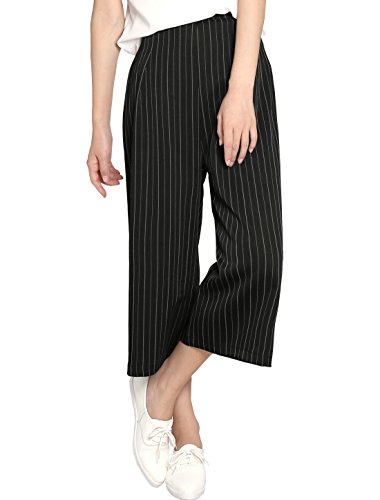 Allegra K Women Pleated Detail Stripes Wide Leg High Waisted Pants Black L