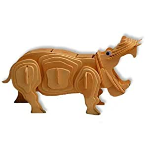 All4LessShop 3 D Wooden Puzzle Hippopotamus Affordable Gift for your Little One! Item #DCHI WPZ M019
