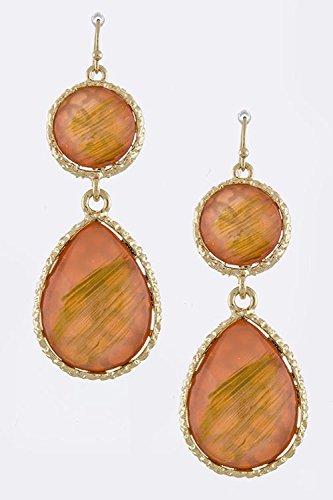 Karmas Canvas Jewel Drop Earrings (Peach) front-582277
