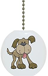 Carolina Hardware and Decor 1652F Cute Brown Dog Animal Ceramic Fan Pull