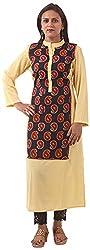 New Pinch Trends Women's Crepe Long Sleeve Kurti (NPTAV-YellowCrape1001_L, Yellow, Large)