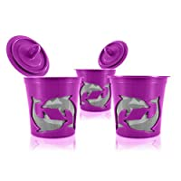 Pack of 3, High Quality Mesh Single Serve Refillable Coffee Filter K-Cups in Purple