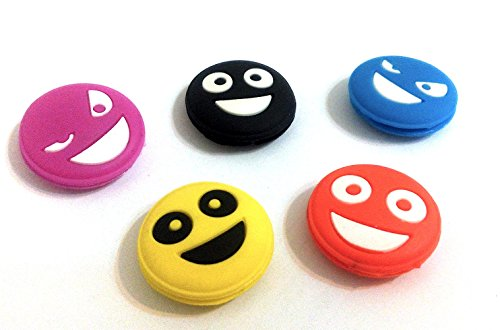 Smile Face Silicone Vibration Dampeners Collection for Tennis Squash Racket Pack of 5 - 1