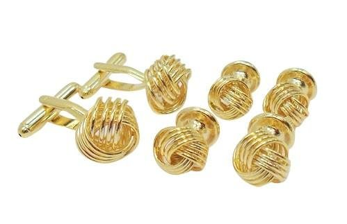 Gold Knot Tuxedo Cufflinks and Studs