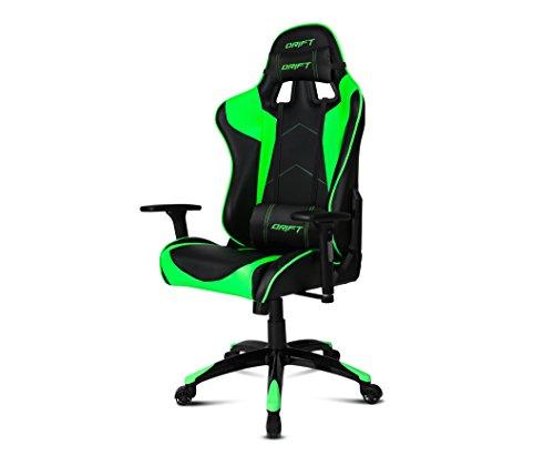 Drift-DR300-Sedia-per-Gaming-Finta-Pelle-NeroVerde-48x615x129-cm