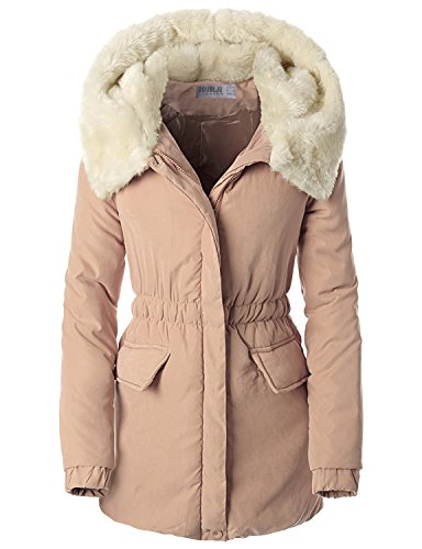 SJSP Womens Faux Fur Trimmed Hooded Puffer Jacket Pink Small