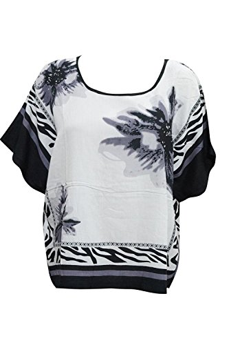 Indiatrendzs Women's Rayon Tops Black/White Tunic Half Sleeves Top