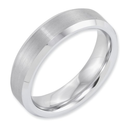 White Dura Tungsten Beveled Edge 6mm Brushed And Polished Band, Size 7.5