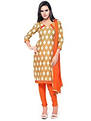 Kanchnar Women's Beige and Orange Mix Cotton Printed Casual Wear Dress Material,Navratri Festival Clothing Diwali Gift,Great Indian Sale