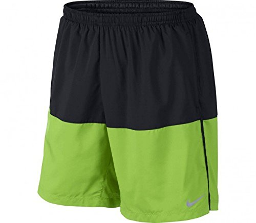 "Nike 7"" Distance Running Shorts, Black/Action Green (Large)"