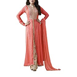 Destiny Enterprise Embroidered Gorgette Gajari Color Party Wear Stitched Salwar Suit for Women