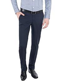 Only Vimal Men's Dark Blue Self-Designed Slim Fit Formal Trouser