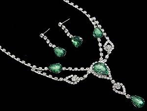 Stunning Y Drop Evening Green Crystal Bridal Necklace Bridesmaids Party