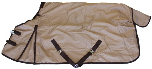 "600D Medium Weight Horse Turnout Blanket Tan, 68"" front-474617"